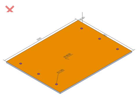 非対象:タップ穴、中抜穴(自由形状穴)