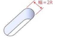 幅=2Rの貫通形状