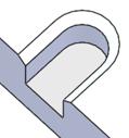 幅=2Rの非貫通切欠き形状+90°口元面取り
