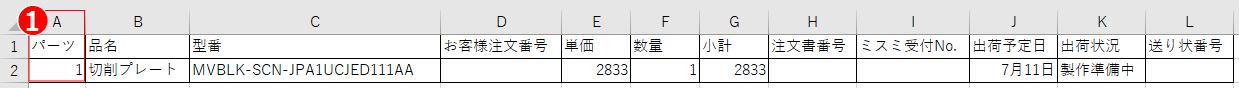 部品表の変更点旧フォーマット